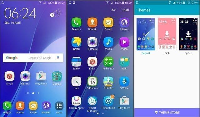 Samsung Galaxy A5 2016 Antarmuka default Samsung yang dilengkapi dengan Theme Store